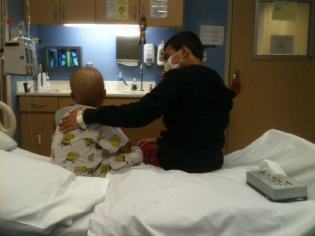 Dec. 23, 2010- the day of Jude's bone marrow transplant. His donor and big brother Joshua, comforting him.